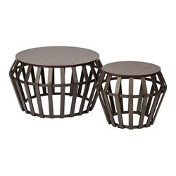 Office Star Solana 2 Piece Round Accent Tables in Espresso