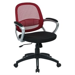 Office Star Bridgeport Mesh Back Office Chair in Red