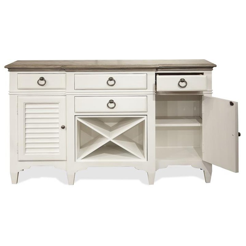 Riverside Furniture Myra Wine Rack Buffet in Natural and Paperwhite