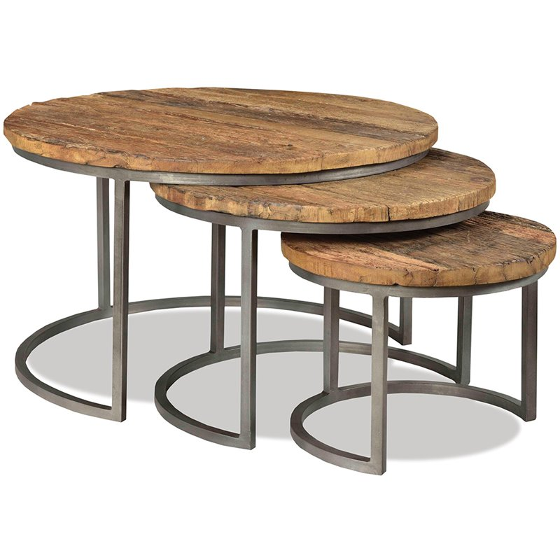 Riverside Furniture Tania Piece Nesting Coffee Table Set In Rustic - 3 piece nesting coffee table