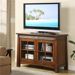 Riverside Furniture Craftsman Home 45 Inch TV Stand in Americana Oak