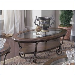 Riverside Fortunado Oval Coffee Table in Distressed Cherry Finish