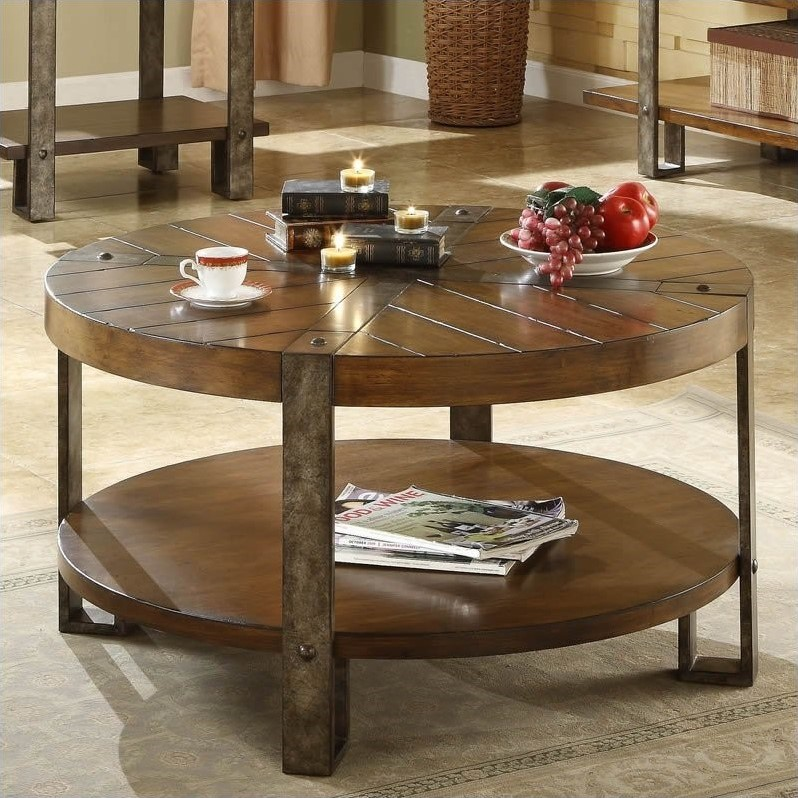 Sierra Round Cocktail Table in Landmark Worn Oak