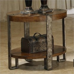 Riverside Furniture Sierra Round End Table in Landmark Worn Oak