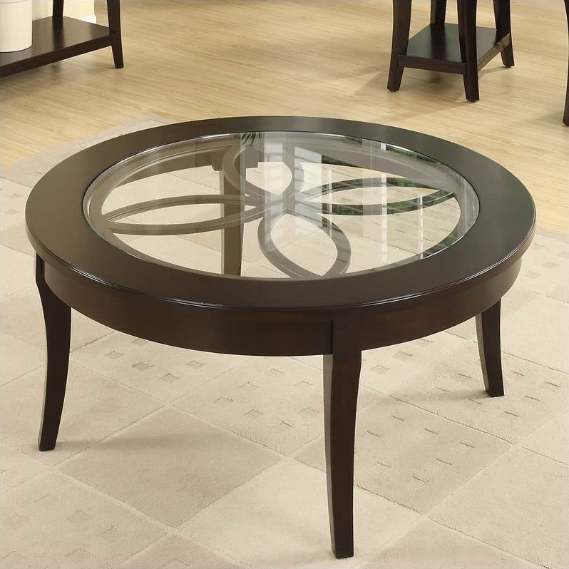 Riverside Furniture Annandale Round Cocktail Table in Dark Mahogany