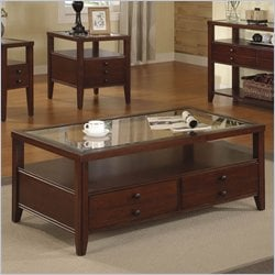 Riverside Furniture Avenue Drawer Cocktail Table in Dark Cherry