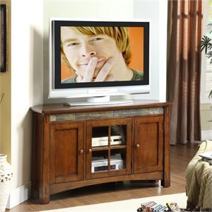 Riverside Furniture Craftsman Home Corner TV Console in Americana Oak