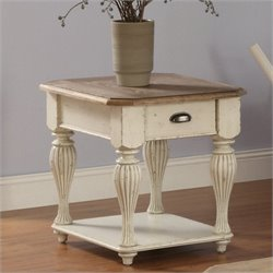 Riverside Furniture Coventry Two Tone End Table in Dover White