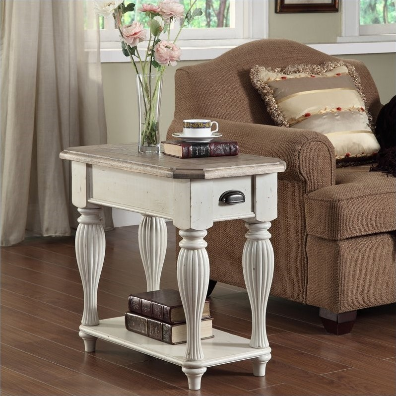Riverside Furniture Coventry Two Tone Chairside Table in Dover White