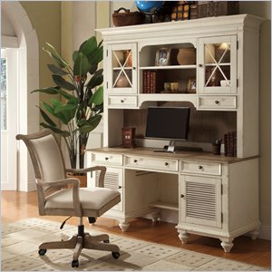 Riverside Furniture Coventry Two Tone Credenza Desk & Hutch in Dover White