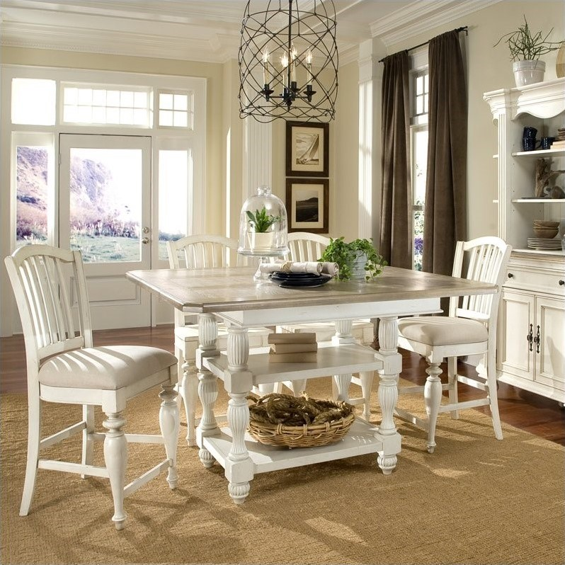 Riverside Furniture Coventry Two Tone Dining Table in Dover White : two tone kitchen table - hauntedcathouse.org