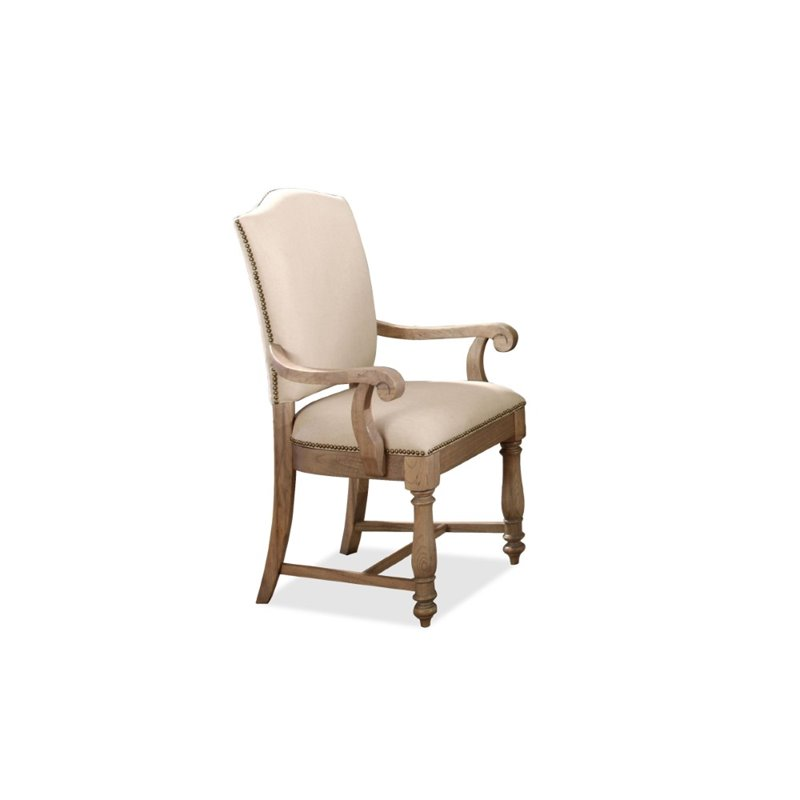 River Furniture Coventry Two Tone Arm Dining Chair in Weathered Drift