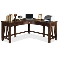 Riverside Furniture Castlewood Corner Desk in Warm Tobacco