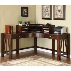 Riverside Furniture Castlewood Corner Desk with Hutch in Warm Tobacco
