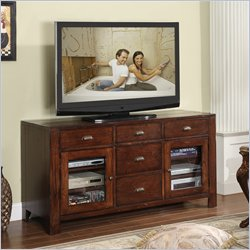 Riverside Furniture Castlewood Entertainment Console in Warm Tobacco