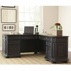 Riverside Furniture Allegro L Shape Desk in Black