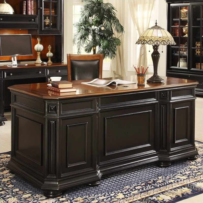 Riverside Furniture Allegro Executive Desk In Rubbed Black