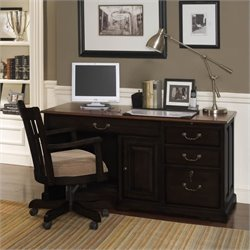 Riverside Furniture Bridgeport Desk in Antique Black/Burnished Cherry