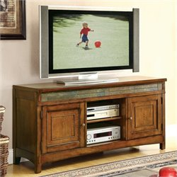 Riverside Furniture Craftsman Home TV Console in Americana Oak