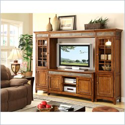 Riverside Furniture Craftsman Home TV Entertainment Center in Americana Oak