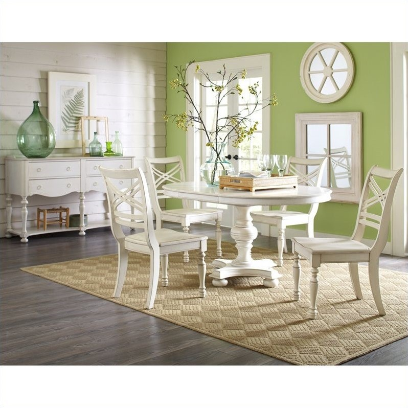 Placid Cove 6 Piece Round Dining Table Set in Honeysuckle White