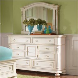 Riverside Furniture Placid Cove Door Dresser and Mirror Set in Honeysuckle White