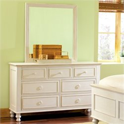 Riverside Furniture Placid Cove 7 Drawer Dresser and Mirror Set in Honeysuckle White