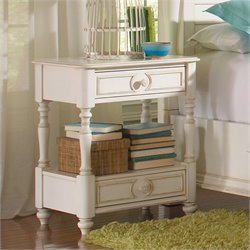 Riverside Furniture Placid Cove 2 Drawer Nightstand in Honeysuckle White