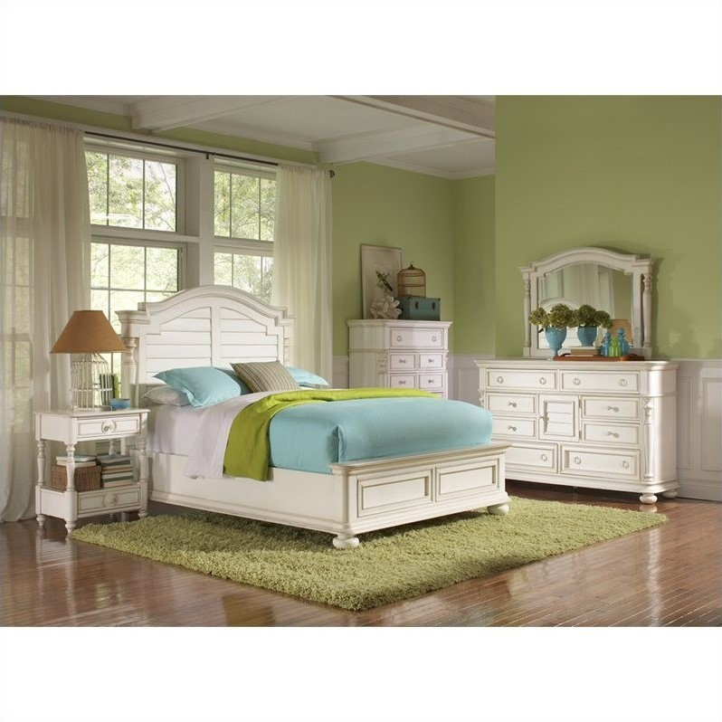 Riverside Furniture Placid Cove Arch Bed 6 Piece Bedroom Set in Honeysuckle White