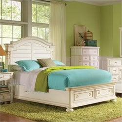 Riverside Furniture Placid Cove Arch Storage Bed in Honeysuckle White