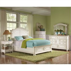 Riverside Furniture Placid Cove Arch Storage Bed 4 Piece Bedroom Set in Honeysuckle White