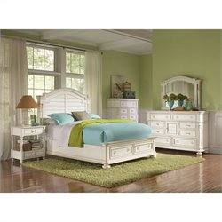 Riverside Furniture Placid Cove Arch Storage Bed 6 Piece Bedroom Set in Honeysuckle White
