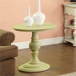 Riverside Furniture Placid Cove Round Pedestal End Table in Seagrass Green