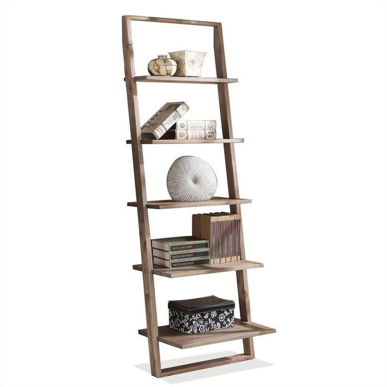 Riverside Furniture Lean Living 3 Piece Leaning Desk and Bookcase Set in Smoky Driftwood