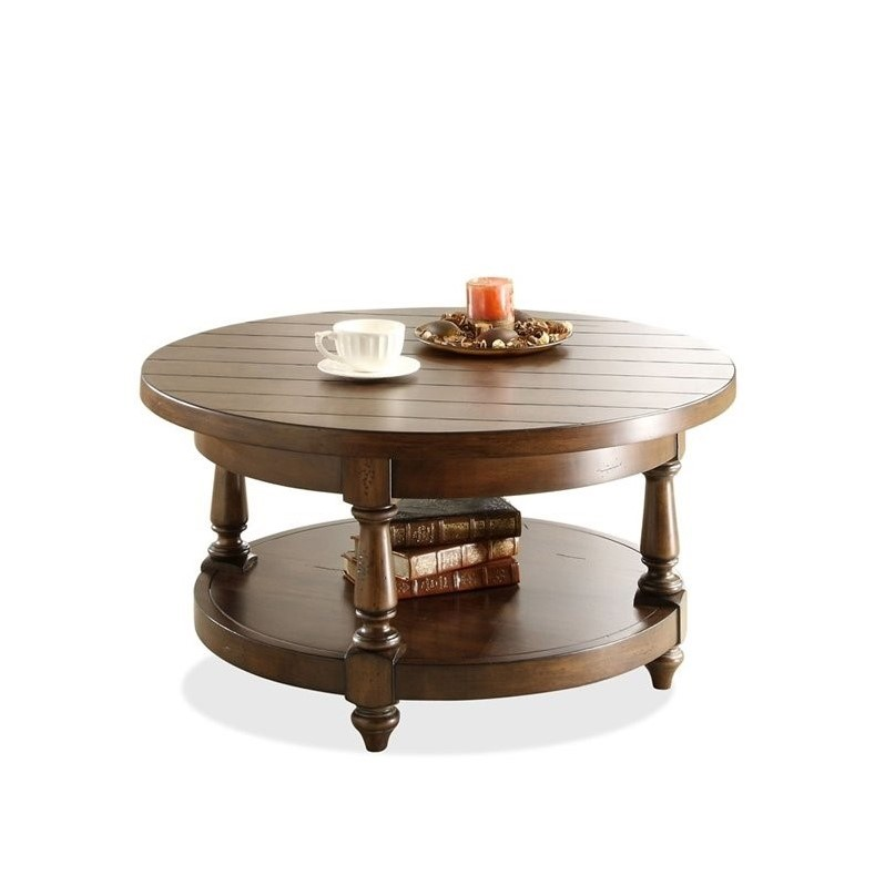Riverside Furniture Newburgh Round Cocktail Table In Antique Ginger 37403