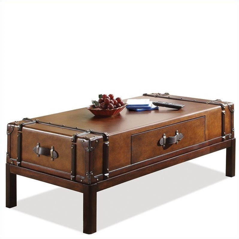 Riverside Furniture Latitudes Suitcase Cocktail Table in Aged Cognac Wood
