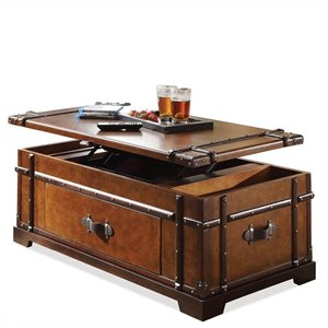 Riverside Furniture Latitudes Steamer Trunk Lift Top Cocktail Table in Aged Cognac Wood