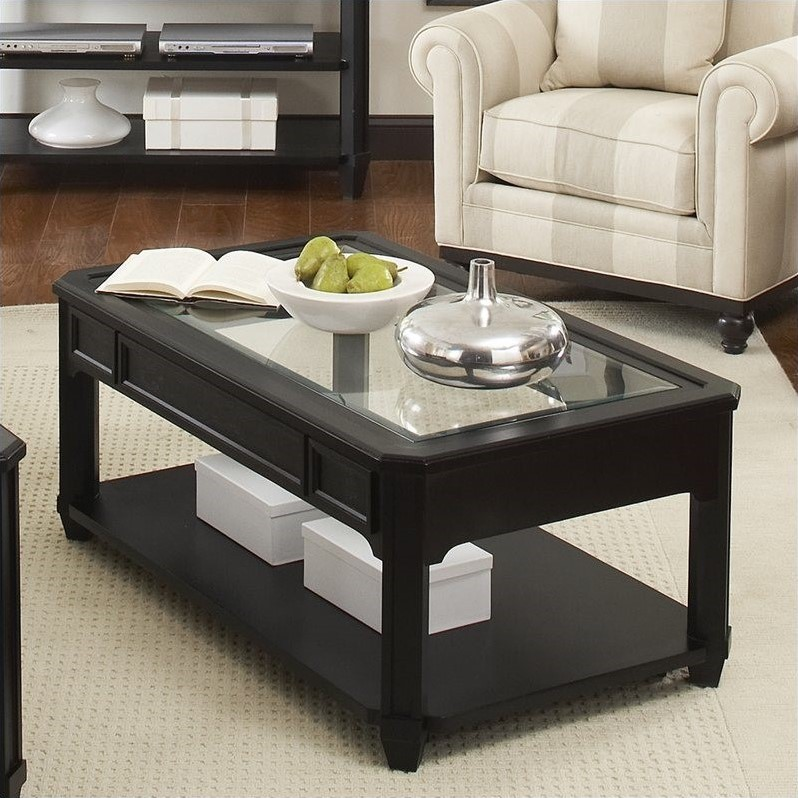 Farrington Glass Top Rectangular Cocktail Table in Black Forrest Birch