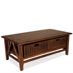 Riverside Furniture Claremont Rectangular Cocktail Table with 2 Baskets in Toffee