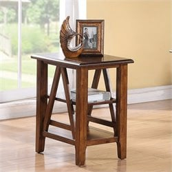 Riverside Furniture Claremont Chairside Table in Toffee