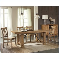 Riverside Furniture Summerhill 5 Piece Dining Table Set in Canby Rustic Pine