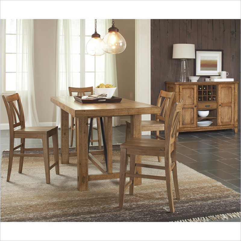 Summerhill 5 Piece Gathering Dining Table Set in Canby Rustic Pine