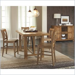 Riverside Furniture Summerhill 5 Piece Gathering Dining Table Set in Canby Rustic Pine