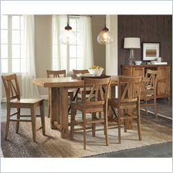 Riverside Furniture Summerhill 7 Piece Gathering Dining Table Set in Canby Rustic Pine