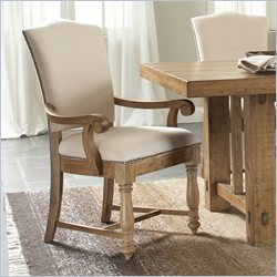 River Furniture Summerhill Upholstered Arm Dining Chair in Canby Rustic Pine