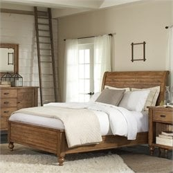 Riverside Furniture Summerhill Sleigh Bed in Canby Rustic Pine