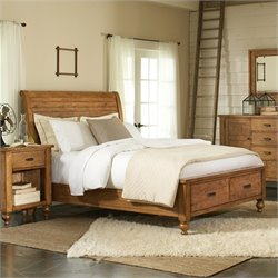 Riverside Furniture Summerhill Sleigh Storage Bed in Canby Rustic Pine - Queen