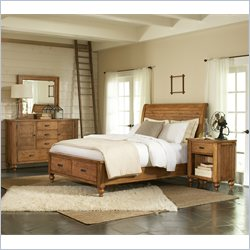 Riverside Furniture Summerhill Sleigh Storage Bed 3 Piece Bedroom Set in Canby Rustic Pine