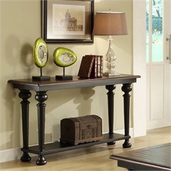 Riverside Furniture Williamsport Sofa Table in Nutmeg/Kettle Black