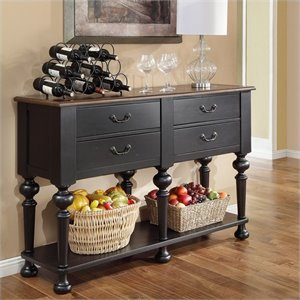 Riverside Furniture Williamsport Server in Nutmeg/Kettle Black
